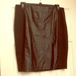 Black Pleather Stripped Skirt
